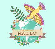 Internationale vredesdag 21 September Vredesduif met olijftak over de planeet overwoekerde bloemen Getrokken hand Stock Afbeeldingen