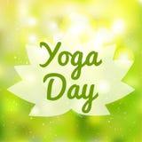 Internationale Yoga-Tagesvektor-Illustrationsfahne vektor abbildung