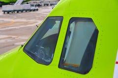 Internationaler Flughafen Domodedovo das Cockpit stockbild