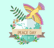 Internationaler Friedenstag 21. September Frieden tauchte mit Ölzweig über den Planet überwucherten Blumen Hand gezeichnet Lizenzfreies Stockbild