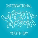 Internationaler Jugendtag des Vorratvektors, am 12. August ikonenhafte Ikone, die auf blauen Hintergrund springt und tanzt lizenzfreie abbildung