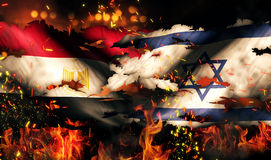 Internationaler Konflikt 3D Ägyptens Israel Flag War Torn Fire Lizenzfreie Stockfotos