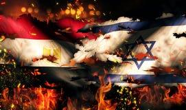 Internationaler Konflikt 3D Ägyptens Israel Flag War Torn Fire Lizenzfreie Stockfotos