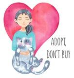 Internationaler obdachloser Tiertag Mädchen, das nette Katze umarmt Nehmen Sie ein Haustier an Nehmen Sie an, ziehen Sie ` t Kauf stock abbildung