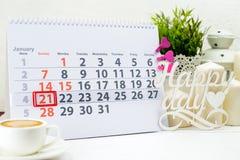 Internationaler Tag der Umarmung 21. Januar Tag 21 des Monats auf w Stockfoto