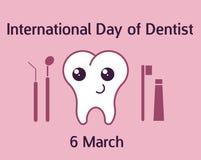 Internationaler Tag der Zahnarztfahne Vektorillustration in der flachen Art Stockfotos