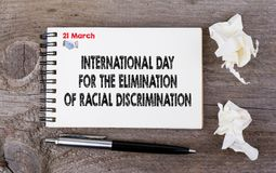 Internationaler Tag für die Beseitigung der Rassendiskriminierung, am 21. März stockbild