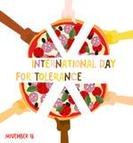 Internationaler Tag für Toleranz 16. November Hände von unterschiedlichem stock abbildung