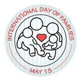 Internationaler Tag von Familien 15. Mai stellen Sie Symbolperson ein: Mutter, Vater und Kinder getrennt auf Weiß Lizenzfreie Stockbilder
