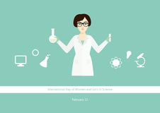 Internationaler Tag von Frauen und von Mädchen im Wissenschaftsvektor Lizenzfreie Stockbilder