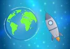 Internationaler Tagesmenschlicher Abstandsflug 12 April Cosmonautics Day Fahne mit Rakete und Erde Horizontale Web-Fahne Lizenzfreies Stockbild