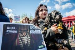 Internationaler Zirkustag Aktivisten protestiert gegen Ausnutzung die Tiere stockbilder