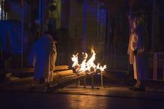Internationales Festival von Straßen-Theatern ULICA in Cracow_Xarxa-Theater Lizenzfreies Stockfoto