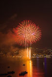 Internationales Feuerwerks-Festival Pattayas stockfotografie