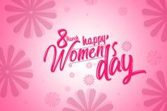 Internationales Frauen ` s Tagesplakat, rosa Farbe mit Blumenhintergrund Lizenzfreies Stockbild