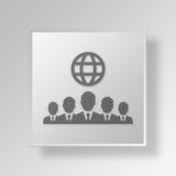 internationales Knopf-Ikonen-Konzept der Geschäftsmann-3D Lizenzfreie Stockbilder