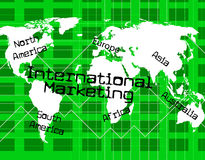 Internationales Marketing zeigt über The Globe und überall an Stockfotos
