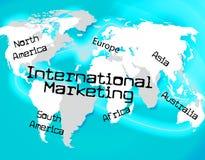 Internationales Marketing zeigt über The Globe und Globalisierung an Stockbild
