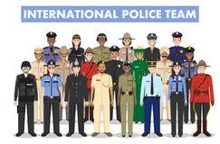 Internationales Polizeileutekonzept Ausführliche Illustration des FLIEGENKLATSCHE-Offiziers, -polizisten, -polizeibeamtin und -sh Lizenzfreies Stockfoto