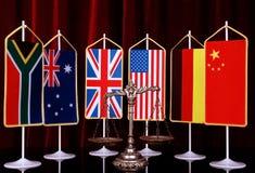 Internationales Recht und Bestellung Stockbild