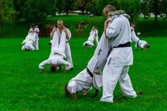 Internationales Sommer kyokushinkai Karate-Ausbildungslager in Ungarn Lizenzfreie Stockfotos