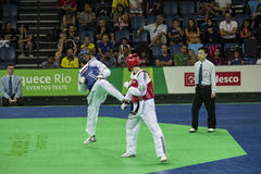 Internationales Taekwondo-Turnier - Rio 2016 - USA gegen TUNESIEN Lizenzfreie Stockfotos
