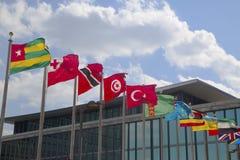 Internationalflaggor framtill av Förenta Nationernahögkvarteret i New York Royaltyfri Fotografi