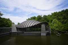 Crystal Bridges Museum Bentonville Arkansas. Internationally renowned architect Moshe Safdie designs this structure  that supports and enhances a project's Royalty Free Stock Photography