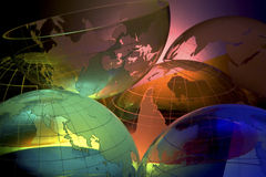 WORLD GLOBE SET HIGH TECH BACKGROUND Stock Images