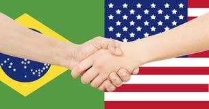 Internationell affär - Brasilien - USA Arkivbilder