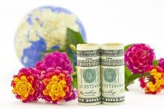 Internationell affär som ses i amerikanskt dollar, jordklot och flöde Fotografering för Bildbyråer