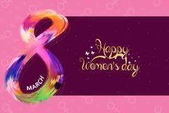 Internationell affisch för dag för kvinna` s Kvinnatecken Färgrik lycklig dag för moder` s Arkivbild
