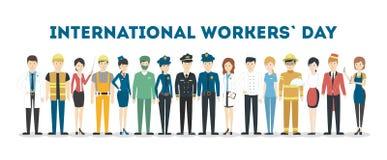 Internationell arbets- dag vektor illustrationer