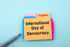 Internationell dag av demokrati 15 September royaltyfri foto