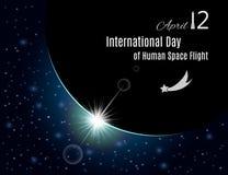 Internationell dag av den mänskliga rymdfartaffischen vektor Vektor Illustrationer