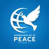 Internationell dag av fredbanret med den vita duvan av fred och världstecknet på blå bakgrundsvektordesign stock illustrationer