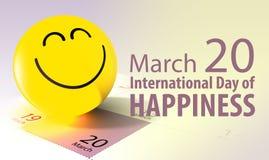 Internationell dag av lyckabegreppsillustrationen Arkivfoton