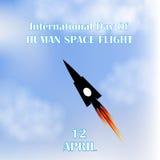 Internationell dag av mänskligt utrymme Fligth raket blå sky 12th April också vektor för coreldrawillustration Fotografering för Bildbyråer
