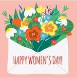 Internationell dag för kvinna` s Kuvert med blommor Designmall för kortet, affisch, baner Vektorillustration för 8 mars royaltyfri illustrationer