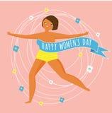Internationell dag för kvinna` s Lycklig kvinnlig körning fritt Designmall för kortet, affisch, baner Vektorillustration för 8 ma royaltyfri illustrationer