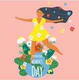 Internationell dag för kvinna` s Lycklig kvinnlig och jordjordklot Designmall för kortet, affisch, baner Vektorillustration för m vektor illustrationer