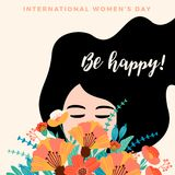 Internationell dag för kvinnor s kantlagrar låter vara vektorn för oakbandmallen royaltyfri illustrationer