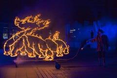Internationell festival av gatateatrar ULICA i den Cracow_Xarxa teatern Royaltyfria Bilder
