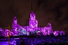Internationell festivalcirkel för Moskva av ljus 3D som kartlägger show på Moskvadelstatsuniversitetet Arkivbild