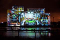 Internationell festivalcirkel för Moskva av ljus 3d som kartlägger show på Moskvaroddhandfatet Arkivbilder
