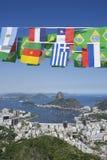 Internationell flagga som Bunting Rio de Janeiro Brazil Arkivfoton