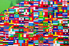 Internationell flaggaskärm av olika länder Royaltyfria Foton