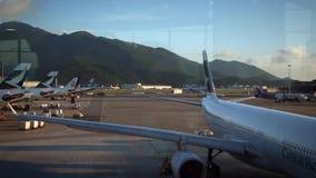Internationell flygplats för siktsflygplanförehavanden i Chek Lap Kok Island Kina arkivfilmer