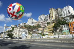 Internationell fotbollfotbollboll Salvador Bahia Brazil Skyline Royaltyfria Bilder
