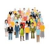 Internationell grupp människor, gammalt och ungt, från vektor illustrationer